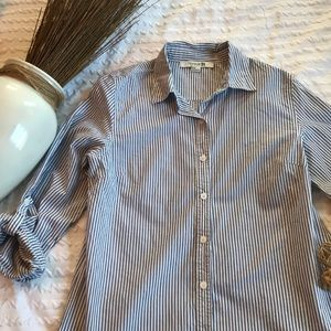 Forever 21 Long Sleeve Button Up Striped Oxford